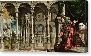 The Annunciation, 1545-50 Oil On Canvas For Detail See 89724 Canvas Print by Paris Bordone