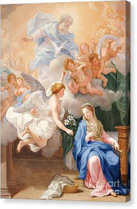 Male Angel Canvas Print featuring the painting The Annunciation by Giovanni Odazzi