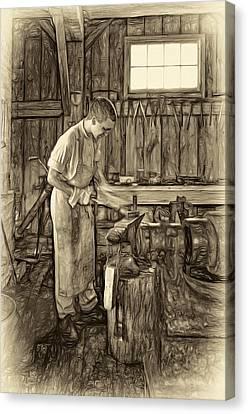 The Apprentice - Paint Sepia Canvas Print by Steve Harrington