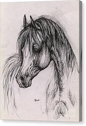 The Arabian Horse With Thick Mane Canvas Print by Angel  Tarantella