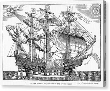 The Ark Raleigh The Flagship Of The English Fleet From Leisure Hour Canvas Print by English School