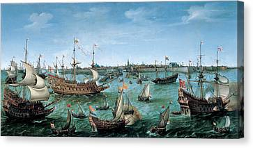 The Arrival At Vlissingen Of The Elector Palatinate Frederick V Canvas Print by Hendrik Cornelisz Vroom
