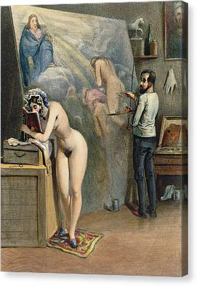 The Artists Wife Canvas Print by French School