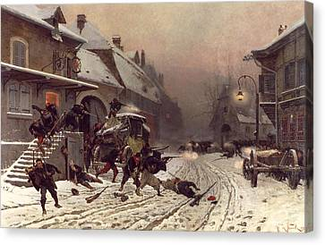 The Attack At Dawn Canvas Print by Alphonse Marie De Neuville