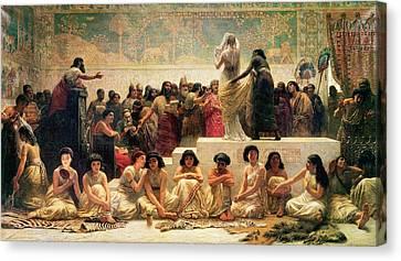 The Babylonian Marriage Market, 1875 Canvas Print by Edwin Longsden Long