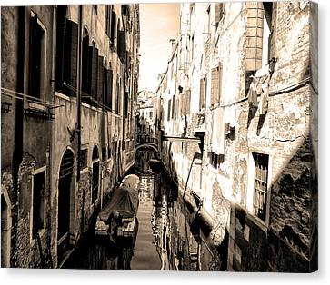 The Back Canals Of Venice Canvas Print by Bill Cannon