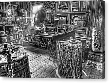 The Back Room Black And White Canvas Print by Ken Smith