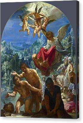 The Baptism Of Christ Canvas Print by Adam Elsheimer