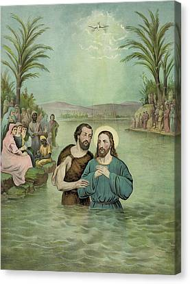 The Baptism Of Jesus Christ Circa 1893 Canvas Print by Aged Pixel