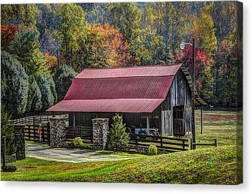 The Barn At Cherry Log Canvas Print by Debra and Dave Vanderlaan