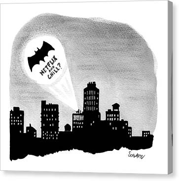 The Bat Signal Says Netflix And Chill? Canvas Print by Benjamin Schwartz