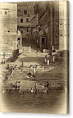 The Bathing Ghats - Paint Sepia Canvas Print by Steve Harrington