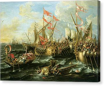 The Battle Of Actium 2 September 31 Bc Canvas Print by Lorenzo Castro