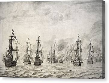 The Battle Of Dunkirk, 1659, By Willem Van De Velde I1611-1693 Canvas Print by Bridgeman Images
