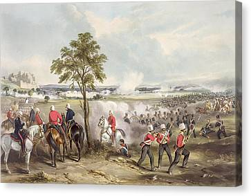 The Battle Of Goojerat On 21st February Canvas Print by Henry Martens