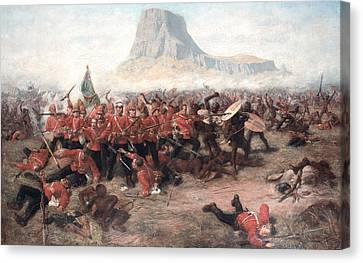 The Battle Of Isandlwana The Last Stand Canvas Print by Charles Edwin Fripp