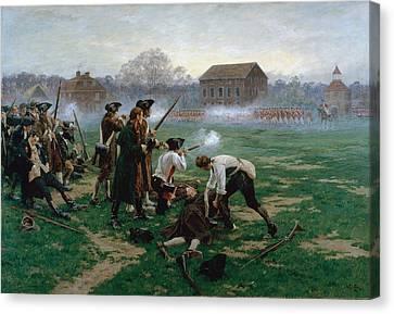 The Battle Of Lexington, 19th April Canvas Print by William Barnes Wollen