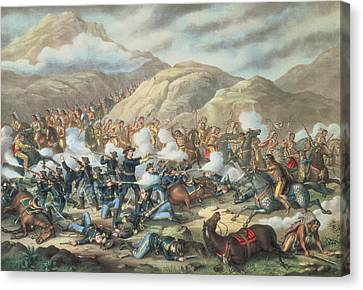The Battle Of Little Big Horn, June 25th 1876 Canvas Print by American School
