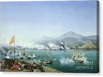 The Battle Of Navarino Canvas Print by Ambroise Louis Garneray