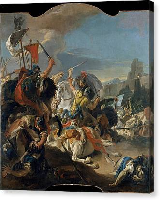 The Battle Of Vercellae Canvas Print by Giovanni Battista Tiepolo