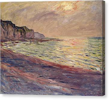 The Beach At Pourville, Setting Sun Canvas Print by Claude Monet