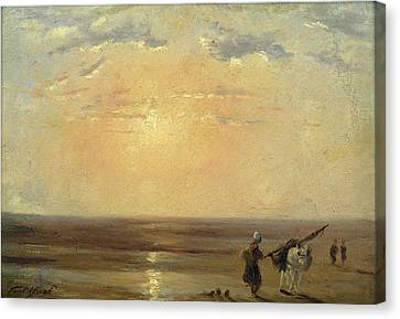 The Beach At Trouville With Setting Sun Canvas Print by Paul Huet