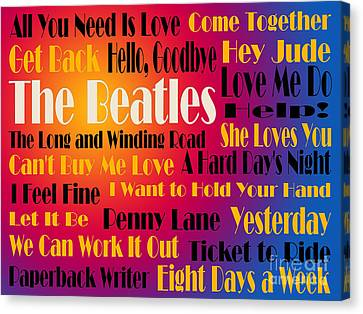 The Beatles 20 Classic Rock Songs 3 Canvas Print by Andee Design