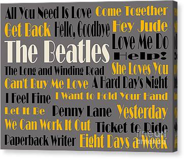 The Beatles 20 Classic Rock Songs 4 Canvas Print by Andee Design