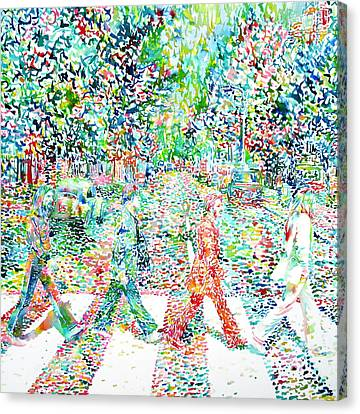 The Beatles Abbey Road Watercolor Painting Canvas Print by Fabrizio Cassetta