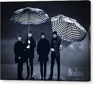 The Beatles In The Rain Canvas Print by Aged Pixel