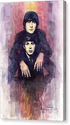 The Beatles John Lennon And Paul Mccartney Canvas Print by Yuriy  Shevchuk