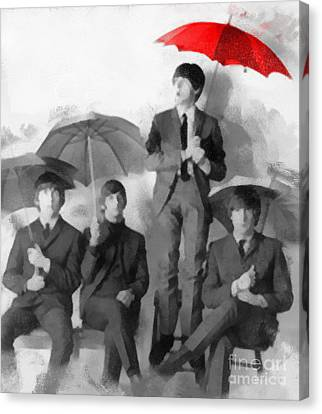 The Beatles - Paul's Red Umbrella Canvas Print by Paulette B Wright