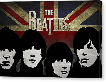 The Beatles Silhouettes Canvas Print by Aged Pixel