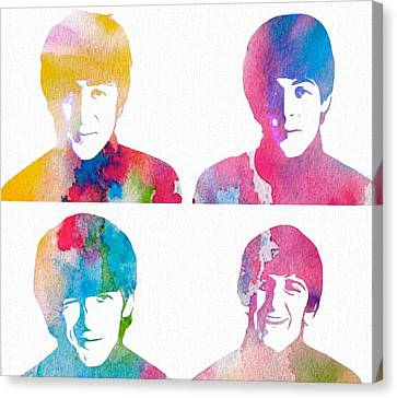 The Beatles Watercolor Collage Canvas Print by Dan Sproul