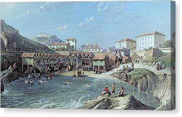 The Beginning Of Sea Swimming In The Old Port Of Biarritz  Canvas Print by Jean Jacques Alban de Lesgallery