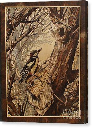 The Bird And Tree Marquetry Wood Work Canvas Print by Persian Art