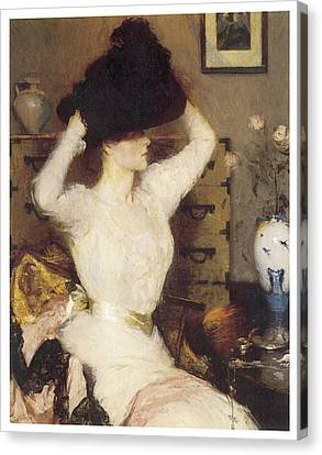 The Black Hat Canvas Print by Frank Benson