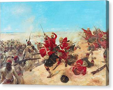 The Black Watch At The Battle Canvas Print by Henri-Louis Dupray