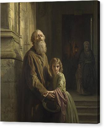 The Blind Beggar Canvas Print by Josephus Laurentius Dyckmans