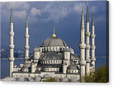 The Blue Mosque In Istanbul Canvas Print by Michele Burgess