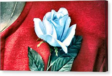 The Blue Rose Canvas Print by Luis Ludzska