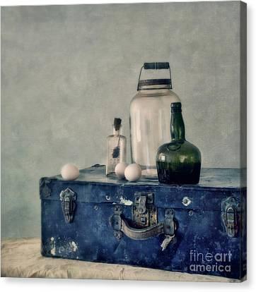 The Blue Suitcase Canvas Print by Priska Wettstein
