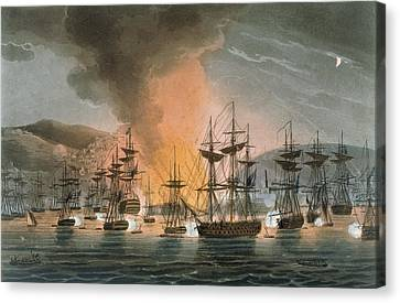 The Bombardment Of Algiers Canvas Print by Thomas Whitcombe