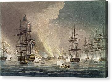 The Bombardment Of Algiers By The Royal Canvas Print by Thomas Whitcombe