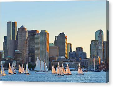 The Boston Skyline From East Boston Canvas Print by Toby McGuire