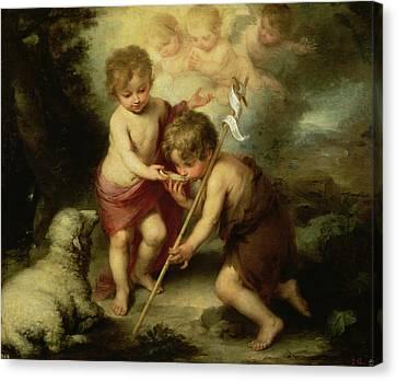 The Boys With The Shell, C.1670 Oil On Canvas Canvas Print by Bartolome Esteban Murillo