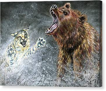 The Brawl Canvas Print by Teshia Art