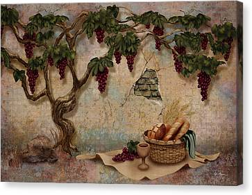 The Bread And The Vine Canvas Print by April Moen