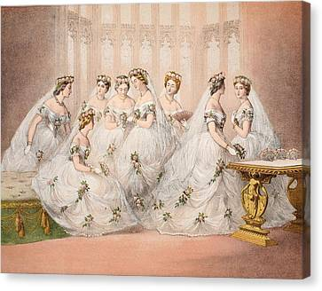 The Bridesmaids, 10th March, 1863 - Marriage Of Edward Vii And Alexandra Of Denmark Canvas Print by English School