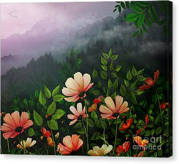 The Brighter Side Of The Dark Mountains Canvas Print by Bedros Awak